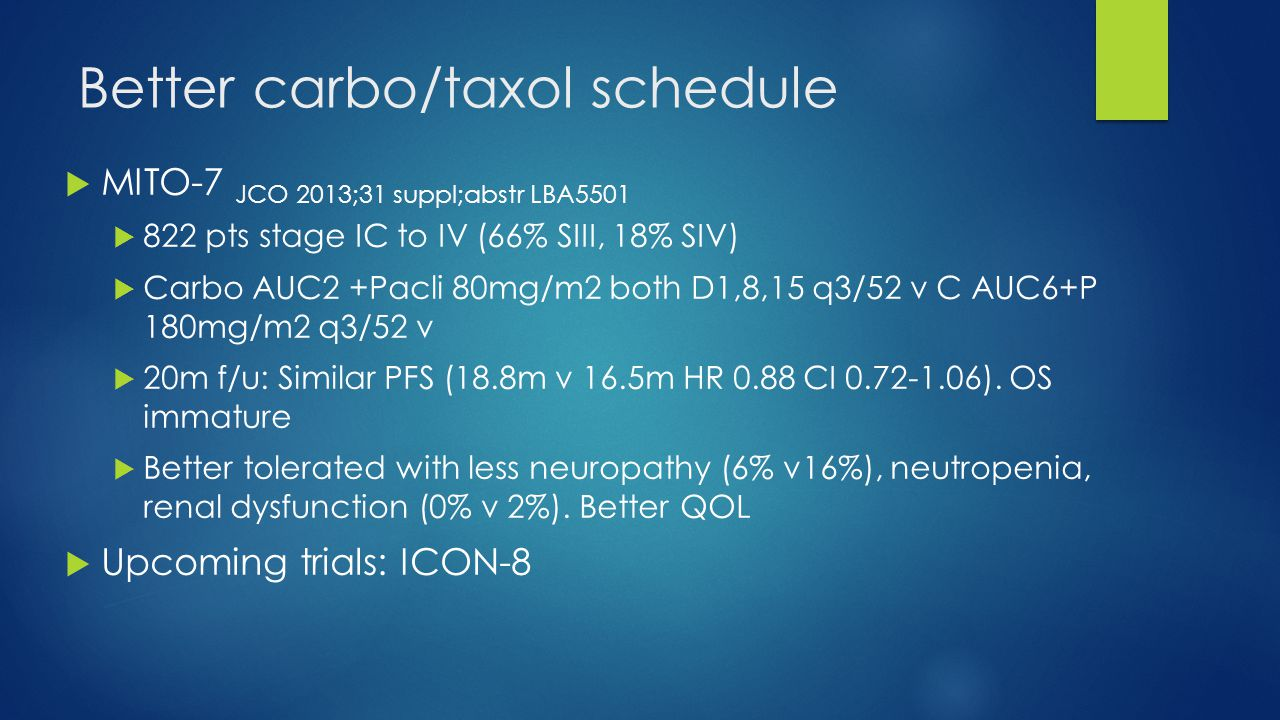 Better carbo/taxol schedule