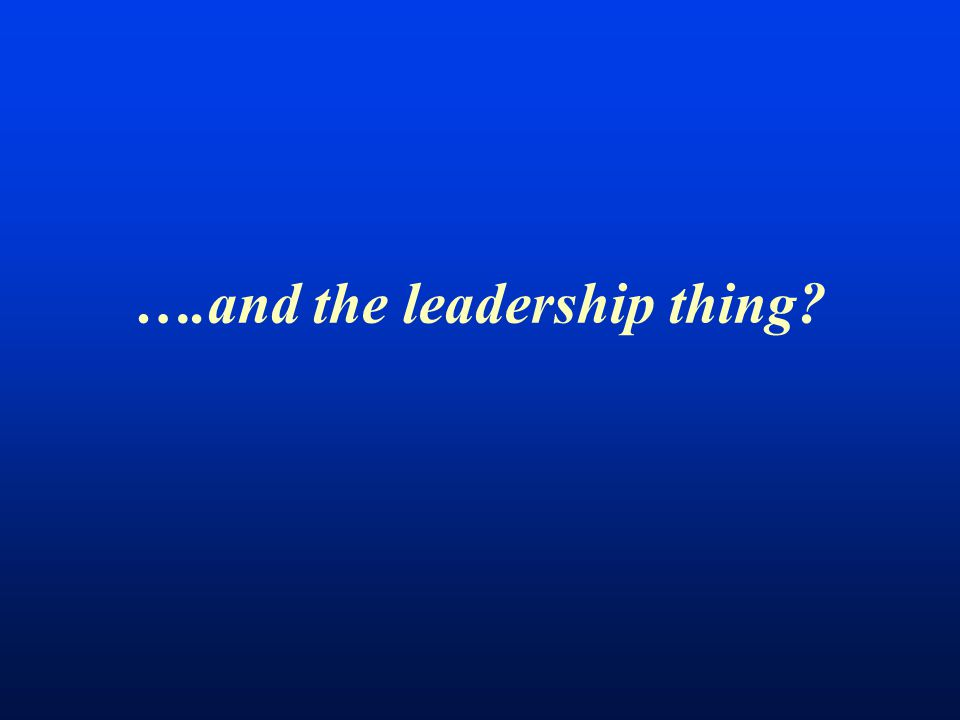 ….and the leadership thing