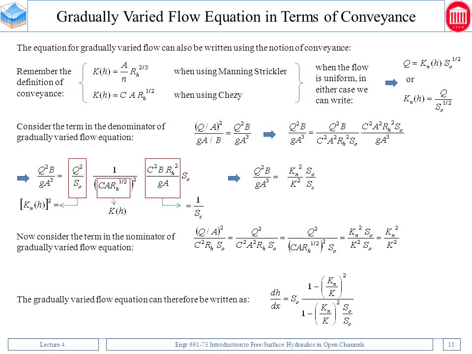 Gradually Varied Flow Equation in Terms of Conveyance