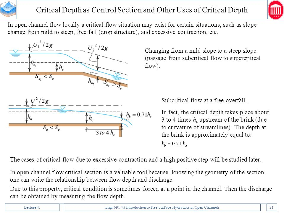 Critical Depth as Control Section and Other Uses of Critical Depth