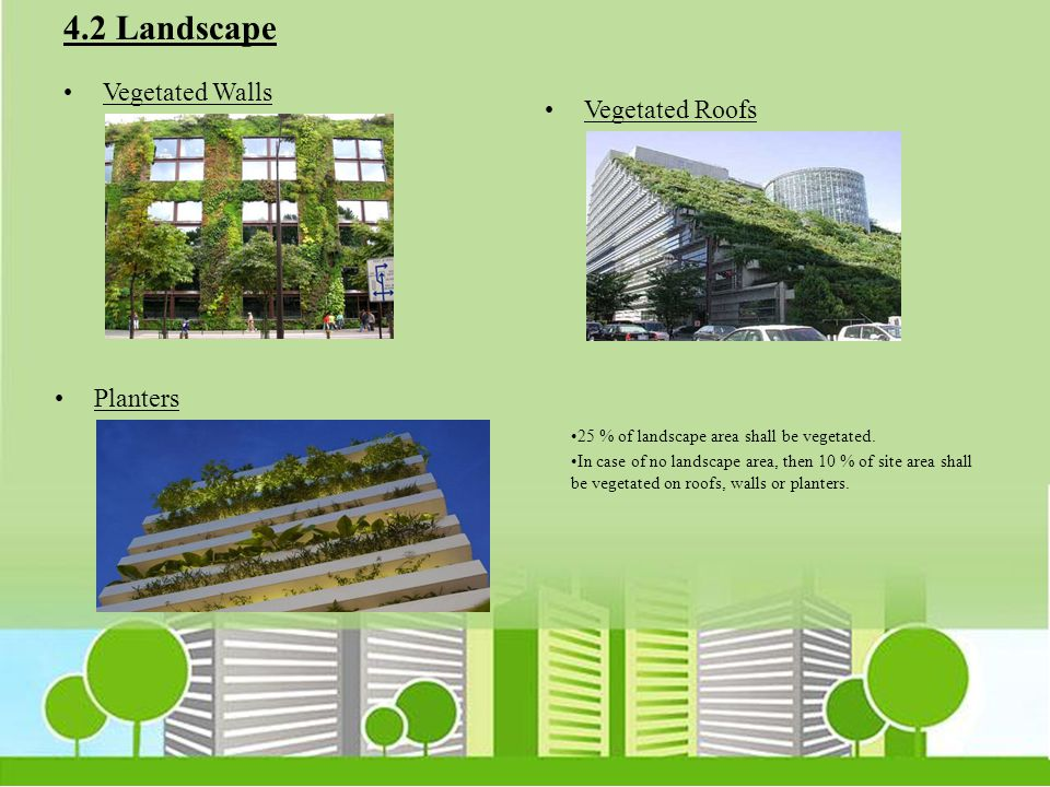 4.2 Landscape Vegetated Walls Vegetated Roofs Planters