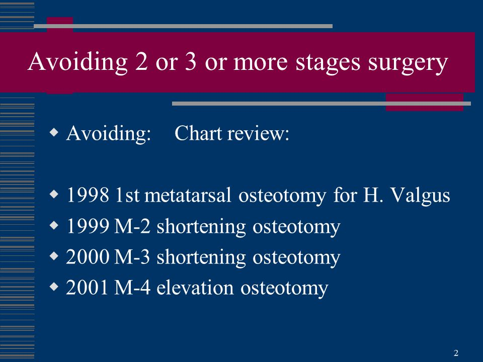 Avoiding 2 or 3 or more stages surgery