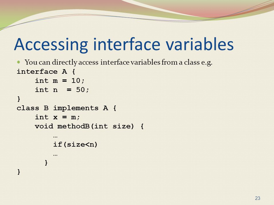Accessing interface variables