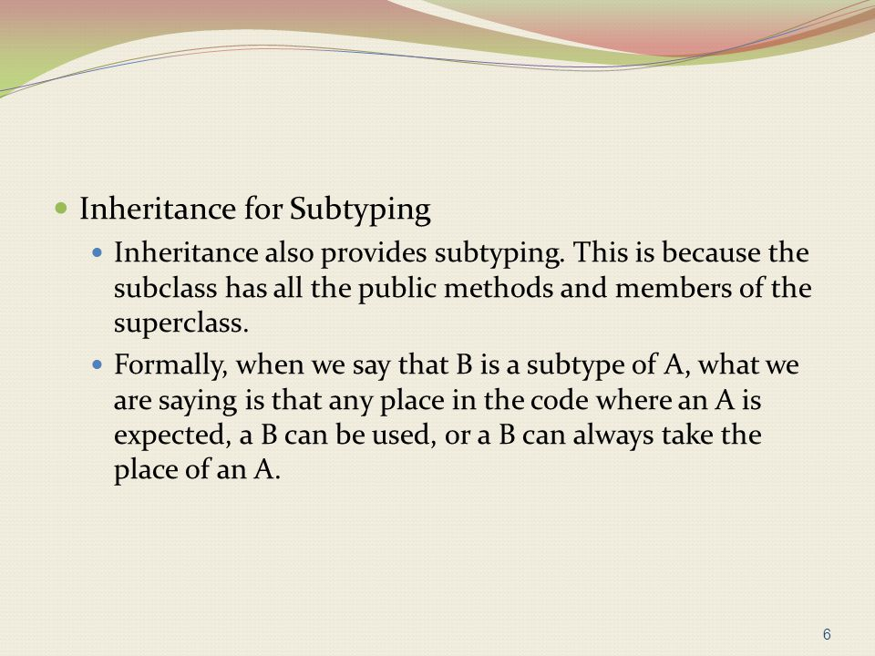 Inheritance for Subtyping