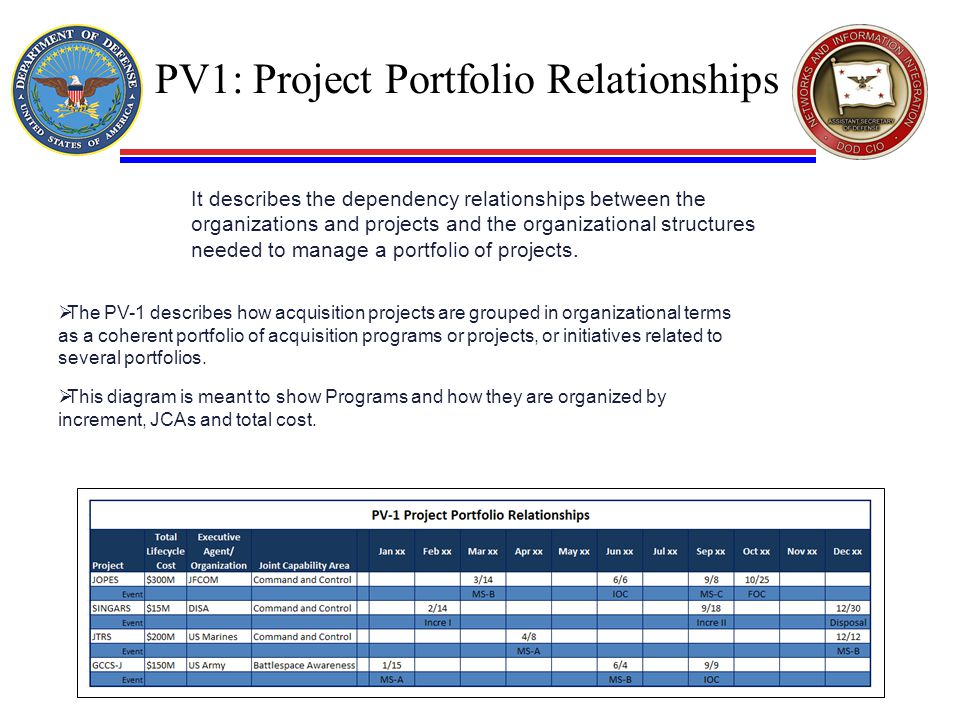 PV1: Project Portfolio Relationships