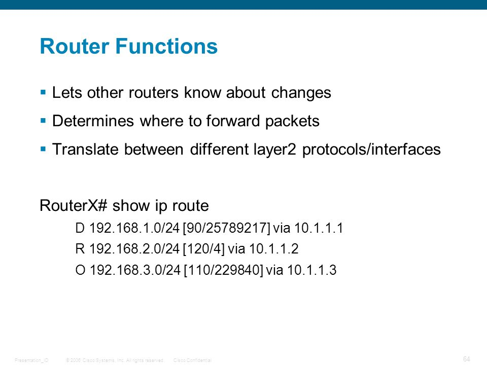 Router Functions Lets other routers know about changes