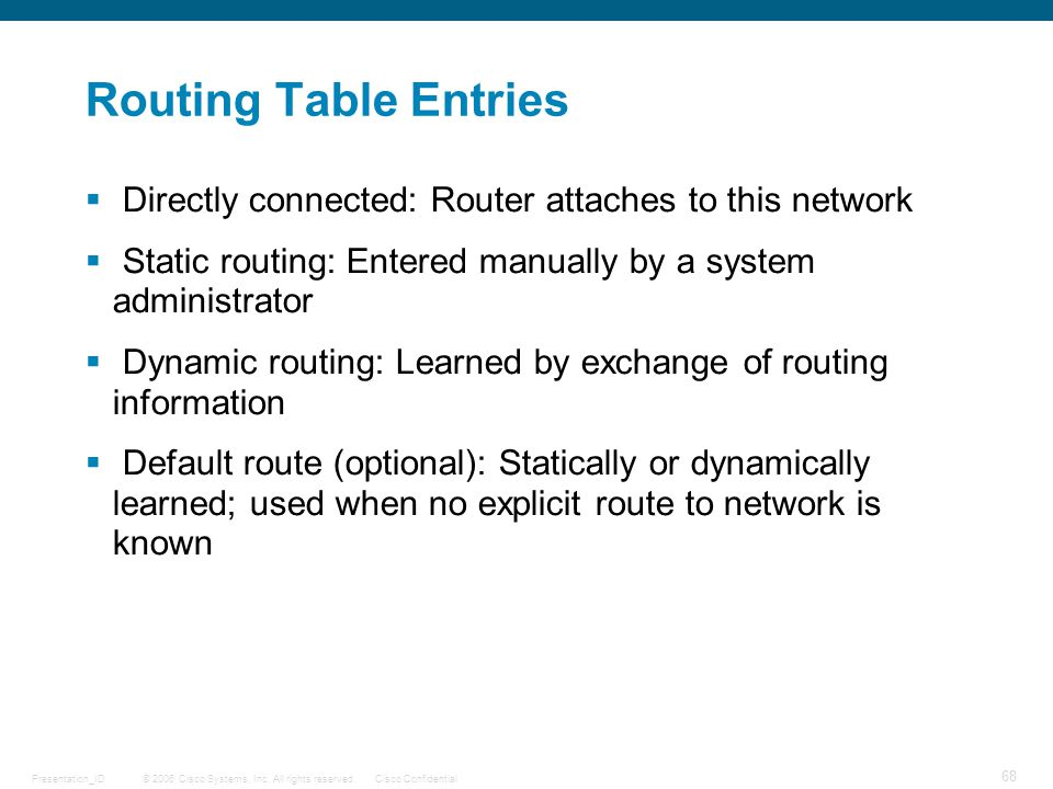 Routing Table Entries Directly connected: Router attaches to this network. Static routing: Entered manually by a system administrator.