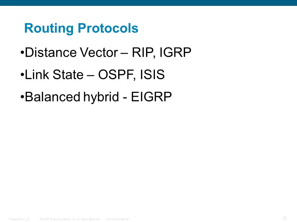 Routing Protocols Distance Vector – RIP, IGRP Link State – OSPF, ISIS Balanced hybrid - EIGRP