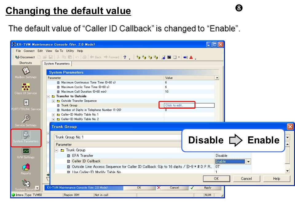 Changing the default value