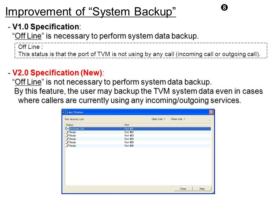 Improvement of System Backup