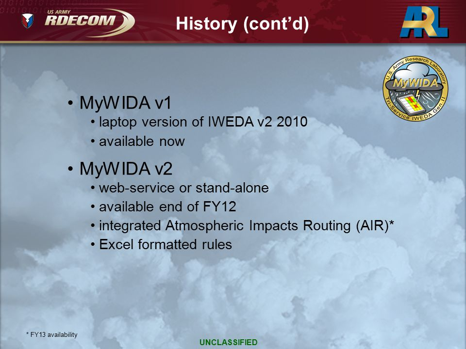 History (cont'd) MyWIDA v1 MyWIDA v2 laptop version of IWEDA v2 2010