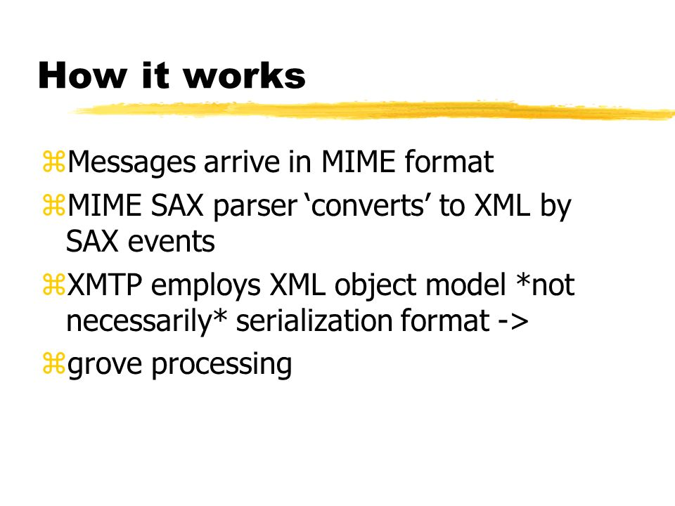 How it works Messages arrive in MIME format