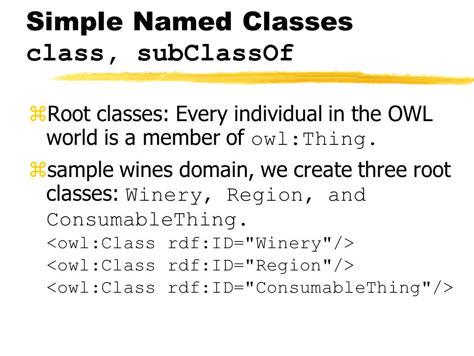 Simple Named Classes class, subClassOf