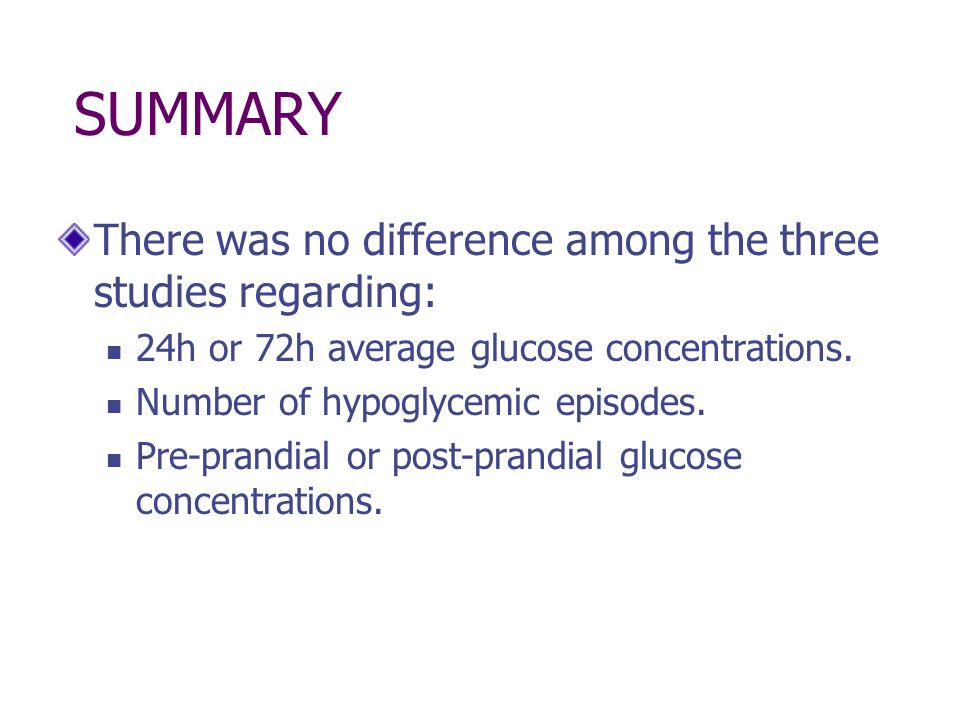 SUMMARY There was no difference among the three studies regarding: