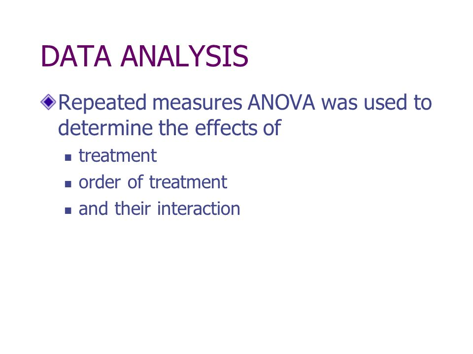 DATA ANALYSIS Repeated measures ANOVA was used to determine the effects of. treatment. order of treatment.
