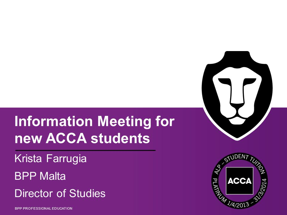 Information Meeting for new ACCA students - ppt download