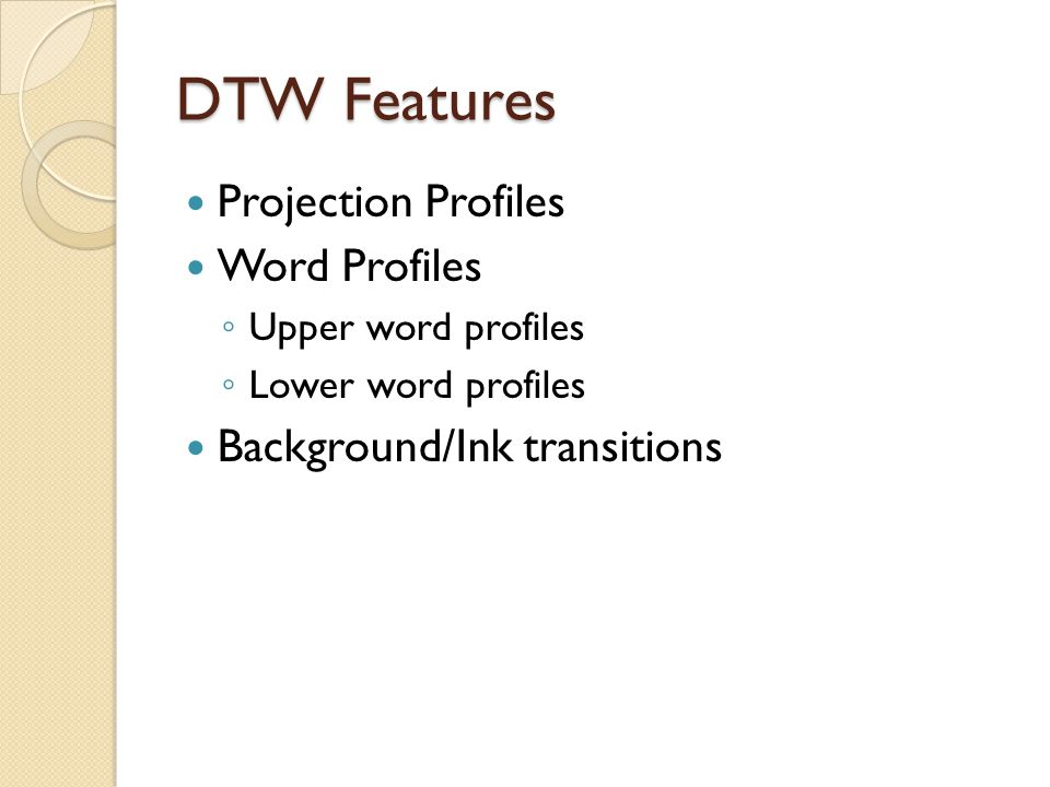 DTW Features Projection Profiles Word Profiles