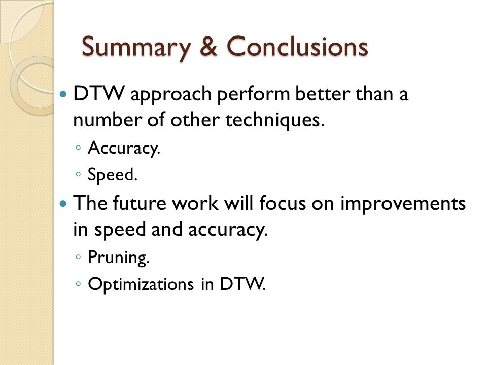 Summary & Conclusions DTW approach perform better than a number of other techniques. Accuracy. Speed.