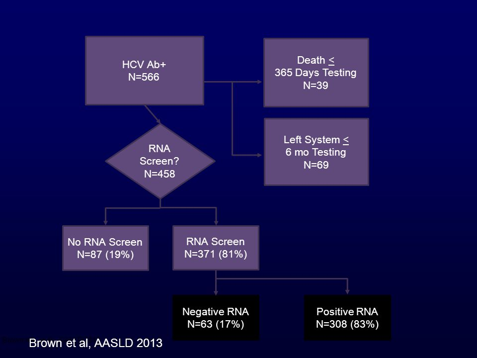 Brown et al, AASLD 2013 HCV Ab+ N=566 Death < 365 Days Testing N=39