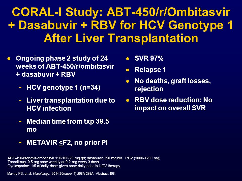 CORAL-I Study: ABT-450/r/Ombitasvir + Dasabuvir + RBV for HCV Genotype 1 After Liver Transplantation
