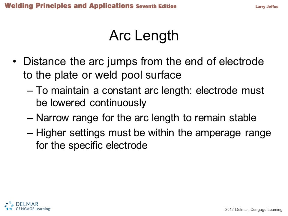 Arc Length Distance the arc jumps from the end of electrode to the plate or weld pool surface.