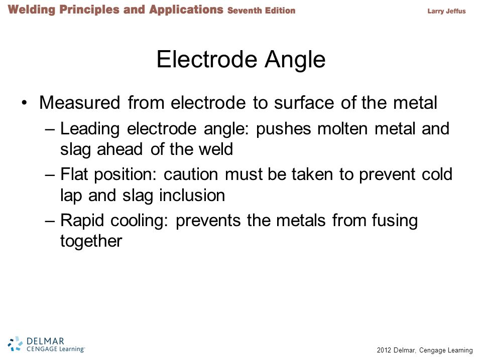 Electrode Angle Measured from electrode to surface of the metal