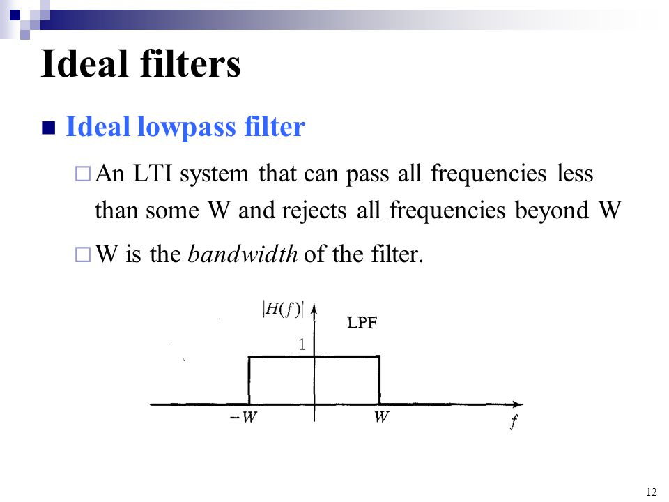 Ideal filters Ideal lowpass filter