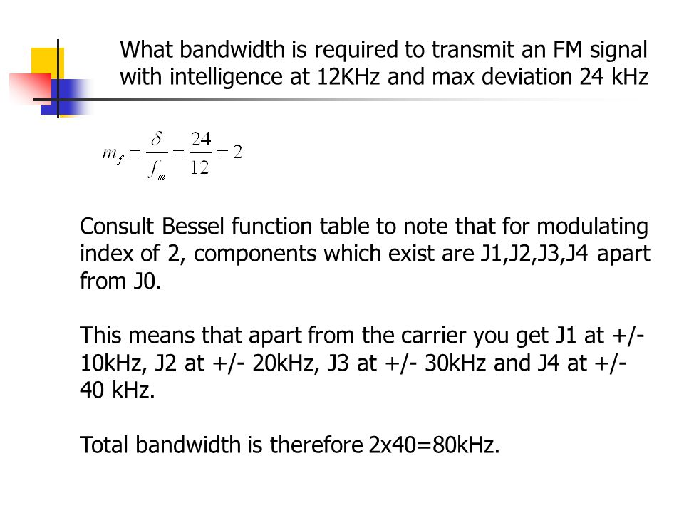 What bandwidth is required to transmit an FM signal with intelligence at 12KHz and max deviation 24 kHz