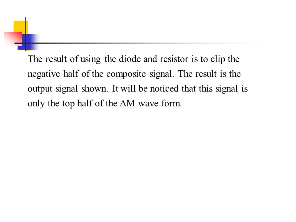 The result of using the diode and resistor is to clip the negative half of the composite signal.