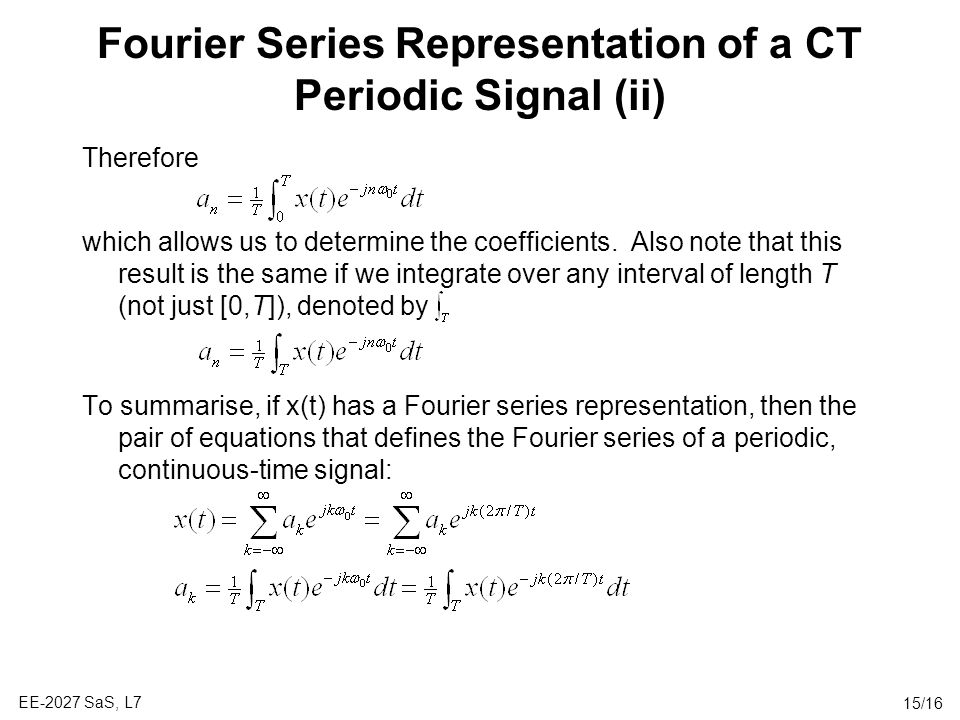 Fourier Series Representation of a CT Periodic Signal (ii)
