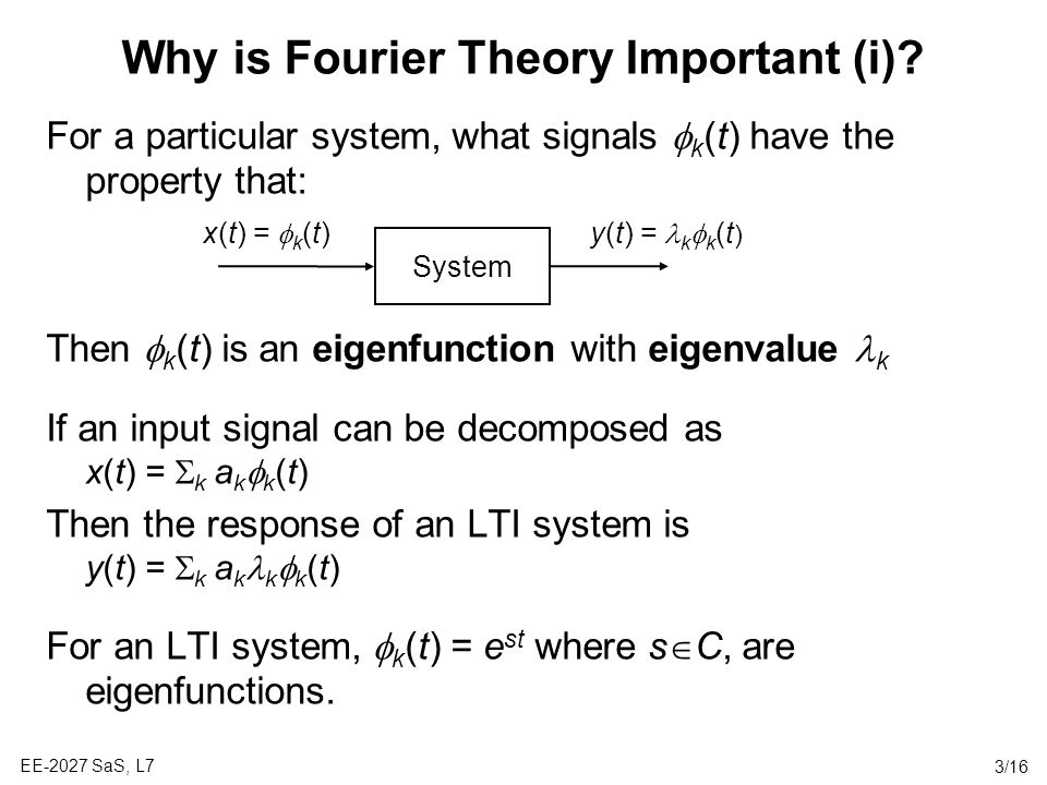 Why is Fourier Theory Important (i)