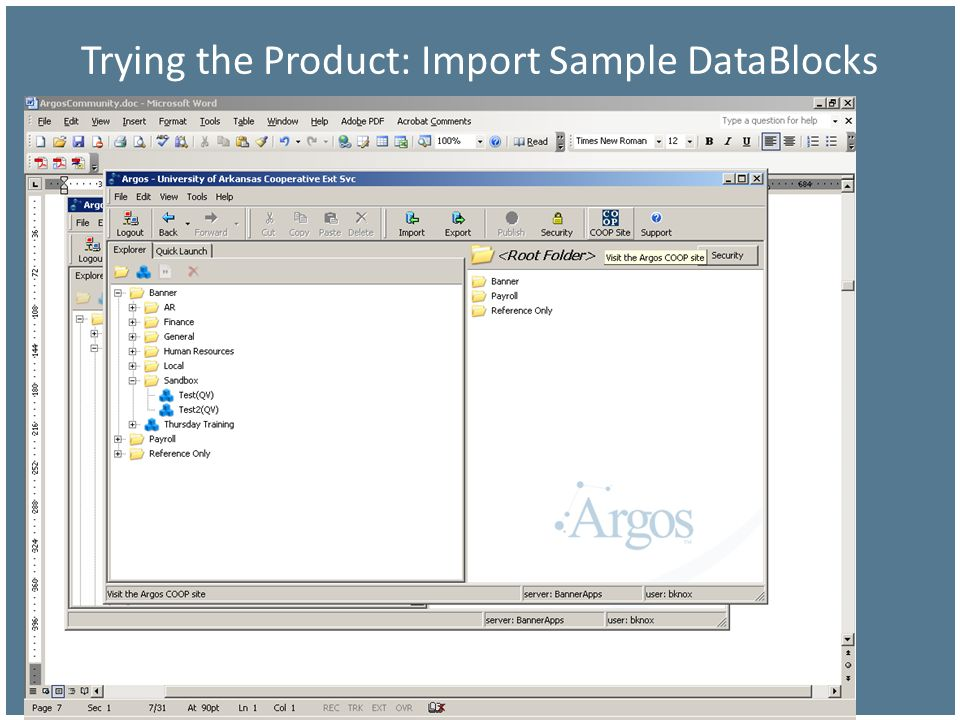 Trying the Product: Import Sample DataBlocks