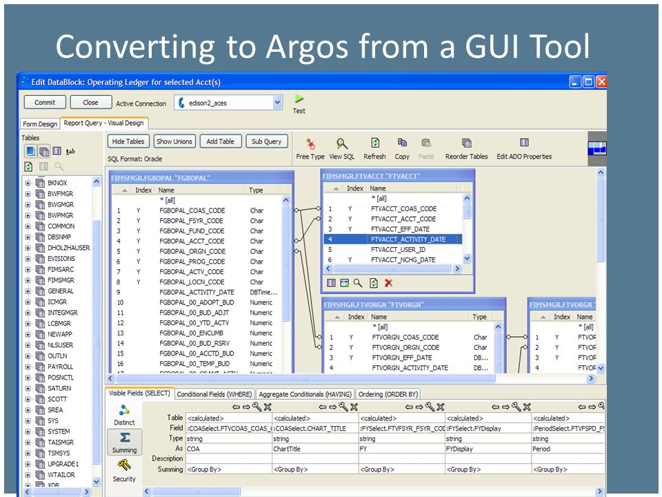 Converting to Argos from a GUI Tool