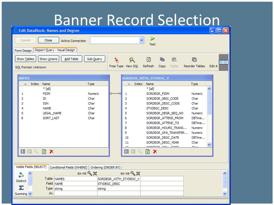 Banner Record Selection