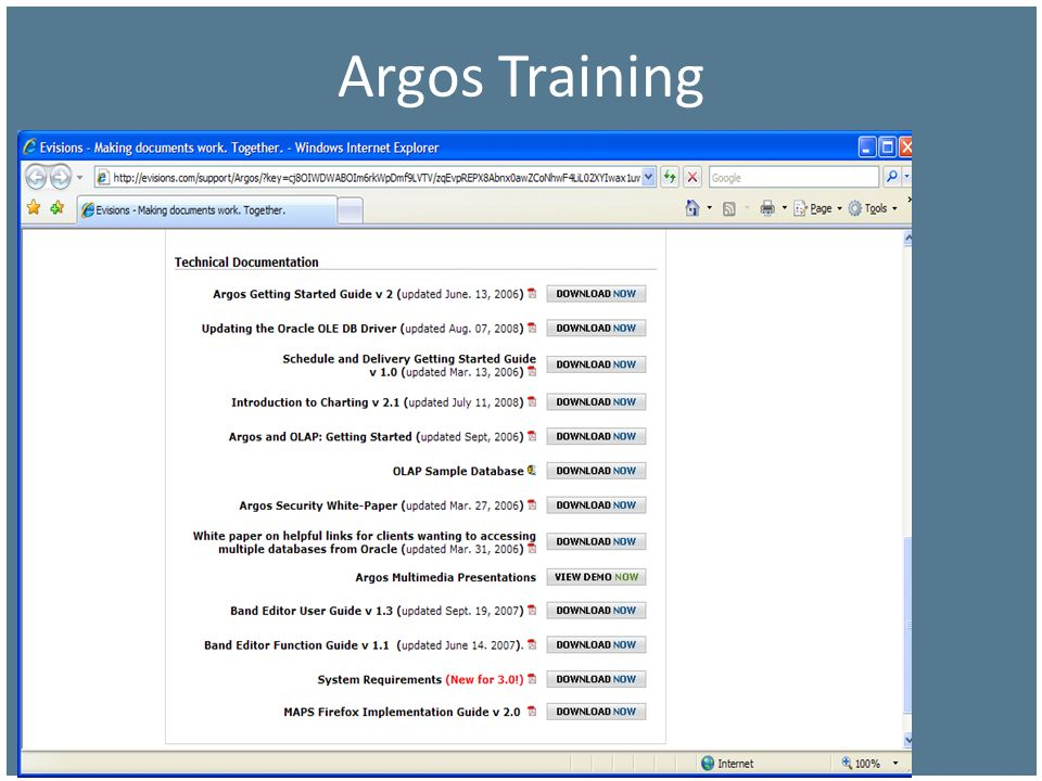 Argos Training So Many Options … (next page)
