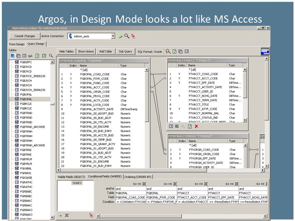 Argos, in Design Mode looks a lot like MS Access