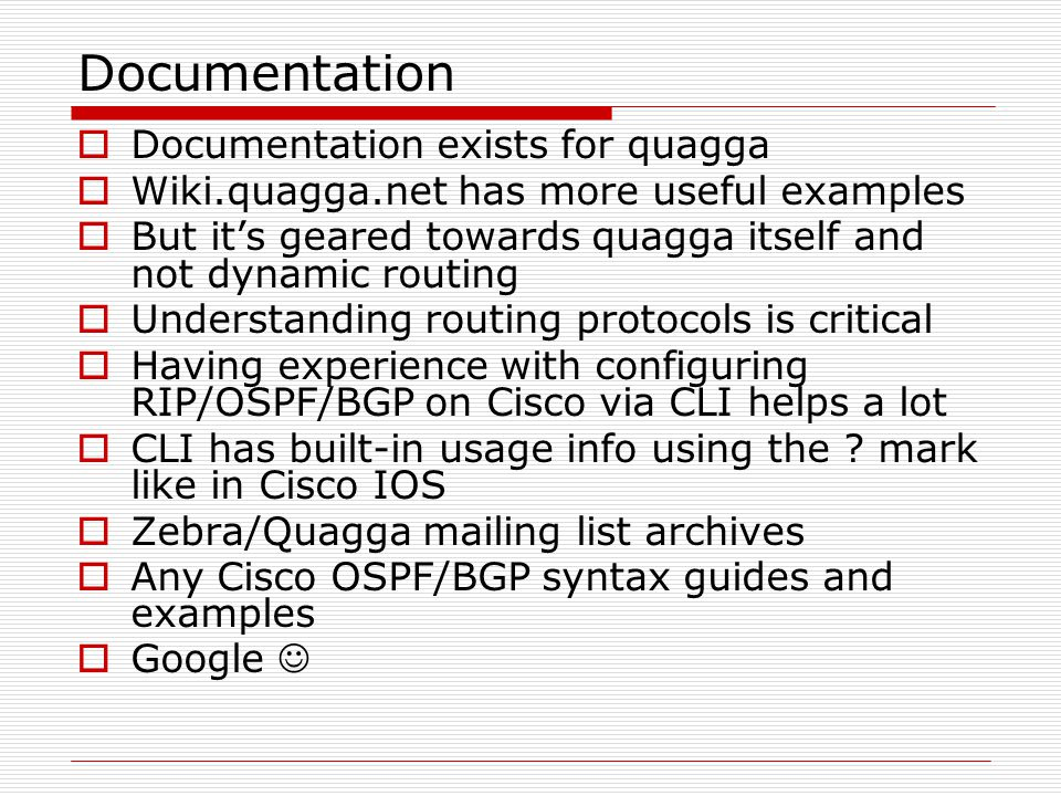 Introduction to dynamic routing on Linux with Quagga - ppt