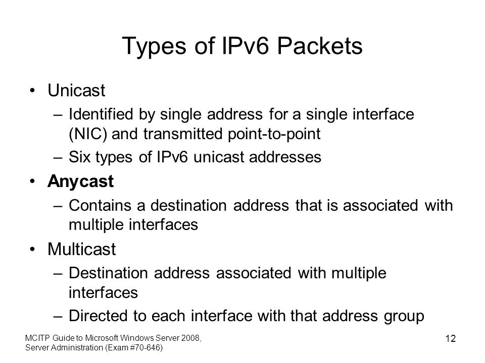 Types of IPv6 Packets Unicast Anycast Multicast