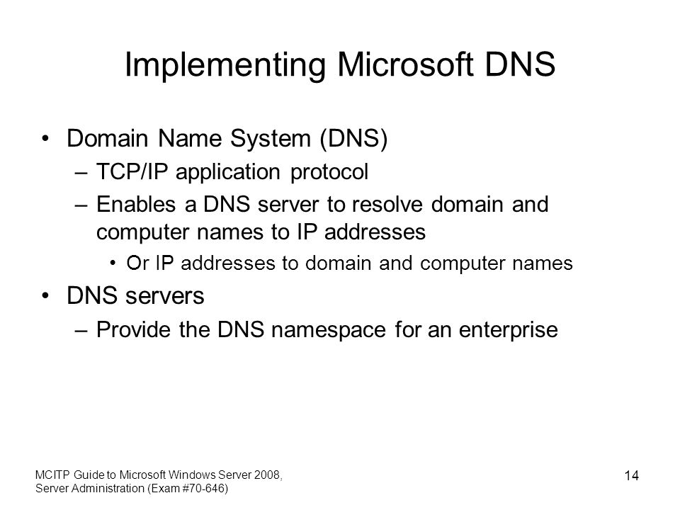 Implementing Microsoft DNS