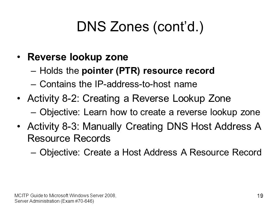 DNS Zones (cont'd.) Reverse lookup zone
