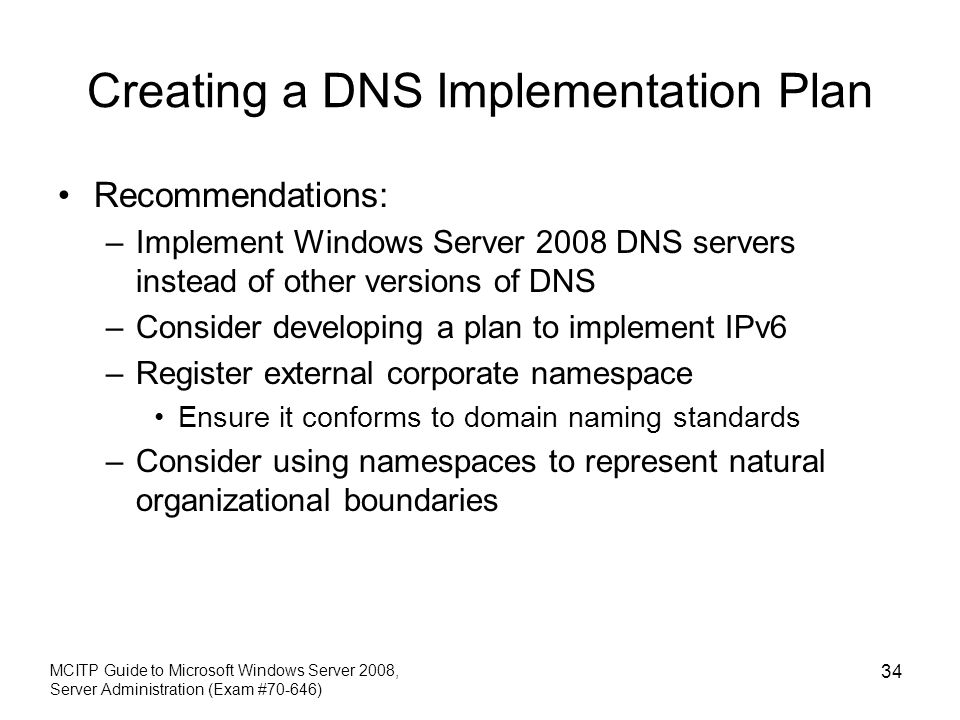 Creating a DNS Implementation Plan
