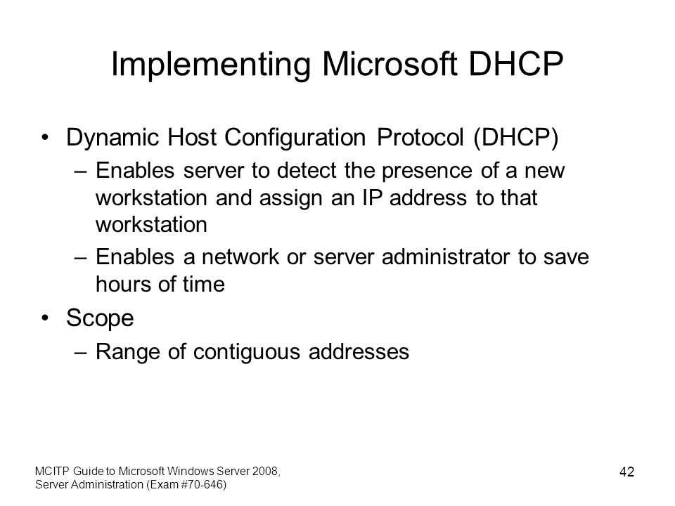 Implementing Microsoft DHCP