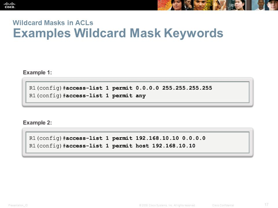 Wildcard Masks in ACLs Examples Wildcard Mask Keywords