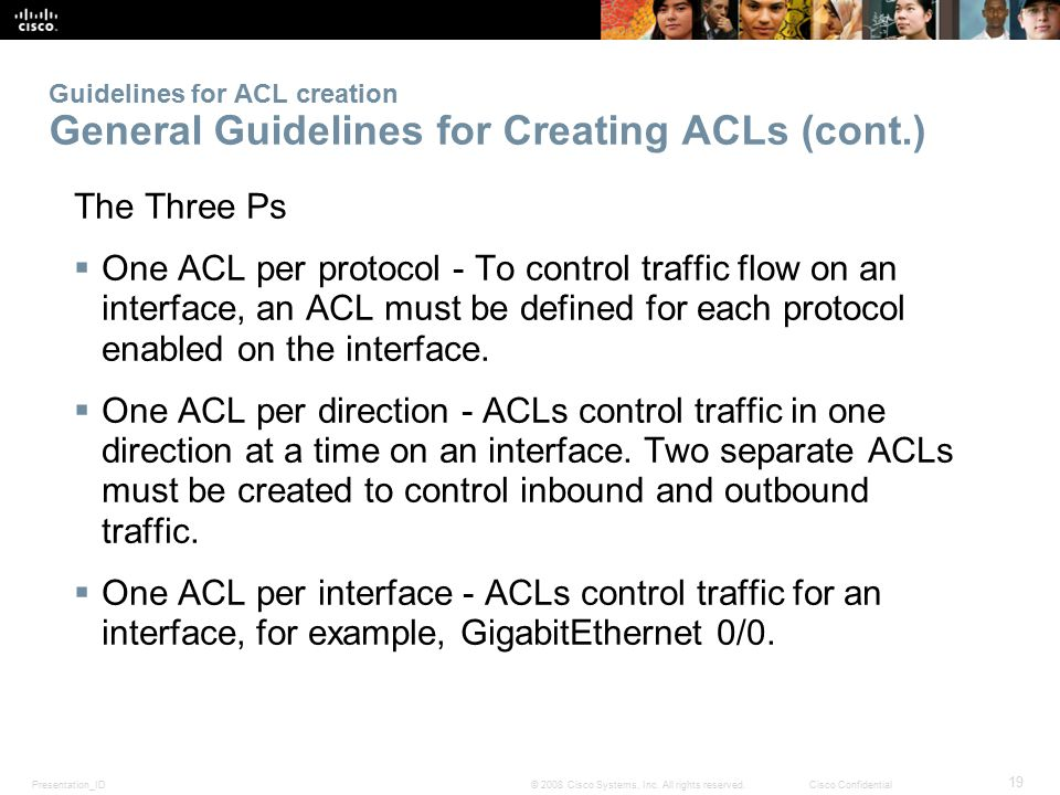 Guidelines for ACL creation General Guidelines for Creating ACLs (cont