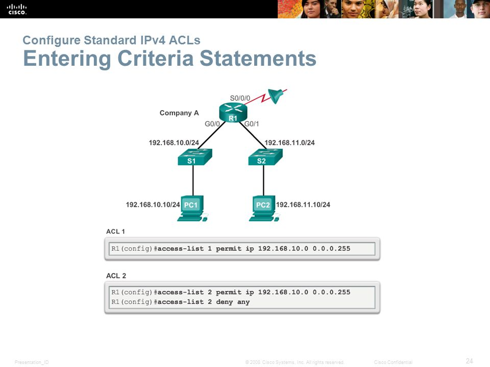 Configure Standard IPv4 ACLs Entering Criteria Statements