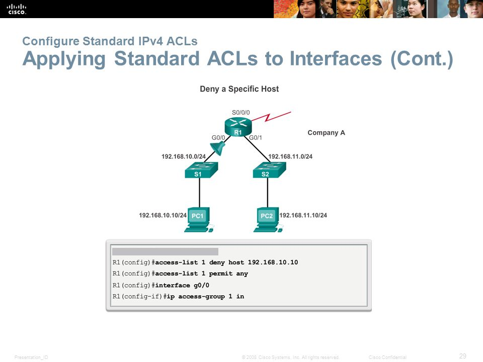 Configure Standard IPv4 ACLs Applying Standard ACLs to Interfaces (Cont.)