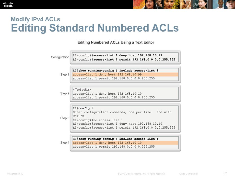 Modify IPv4 ACLs Editing Standard Numbered ACLs