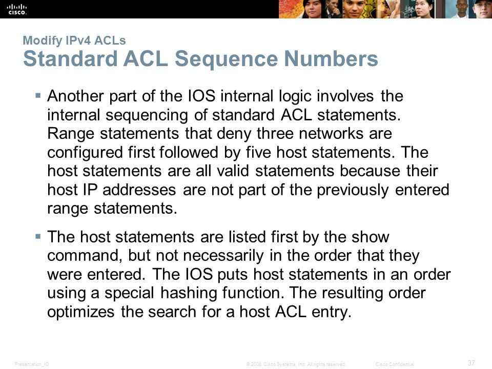 Modify IPv4 ACLs Standard ACL Sequence Numbers