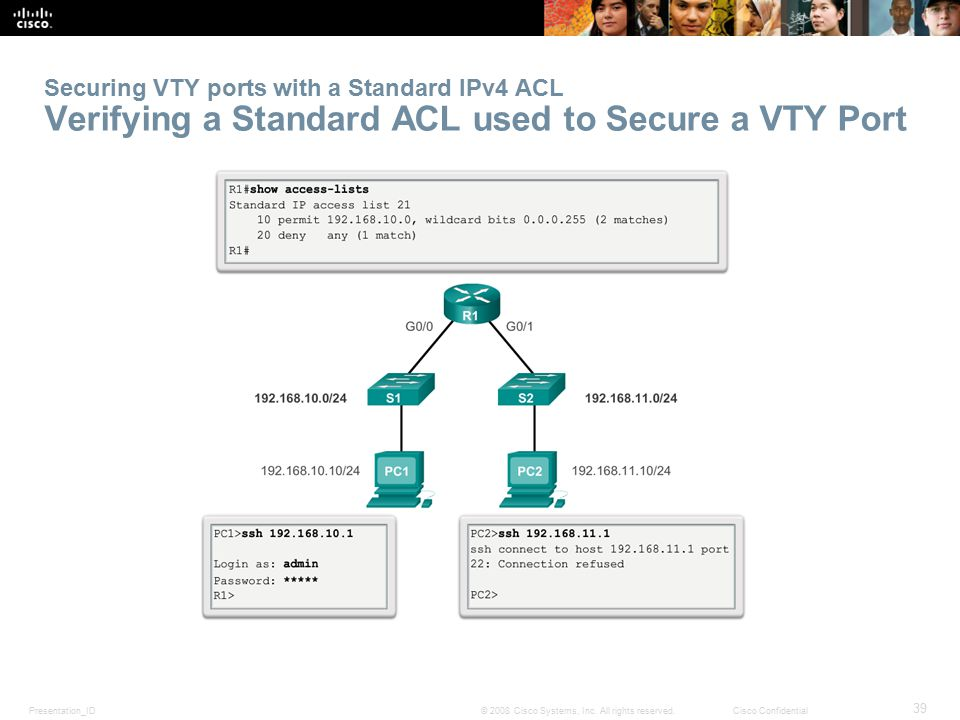 Securing VTY ports with a Standard IPv4 ACL Verifying a Standard ACL used to Secure a VTY Port