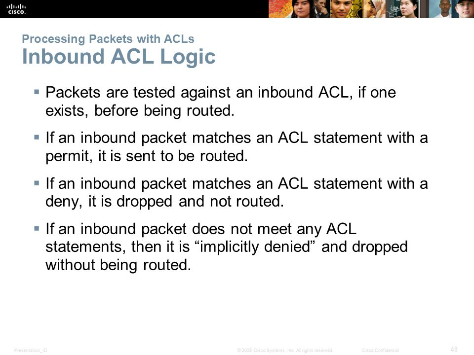 Processing Packets with ACLs Inbound ACL Logic